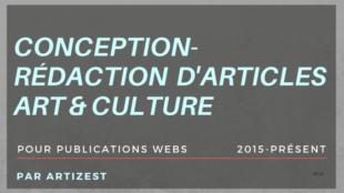 conception rédaction d'articles art culture